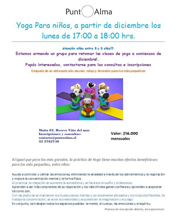 Yoga para niños Diciembre 2017